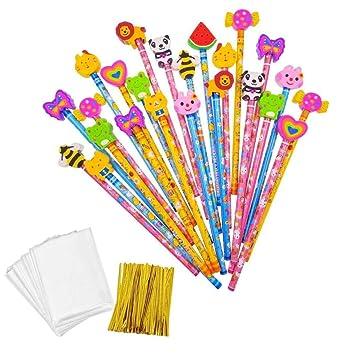 JZK Set 24 lápiz de Madera con Goma lápices Grafito con Borrador para niños Infantiles Fiesta Regalo cumpleaños Navidad Bautizo comunión premios ...