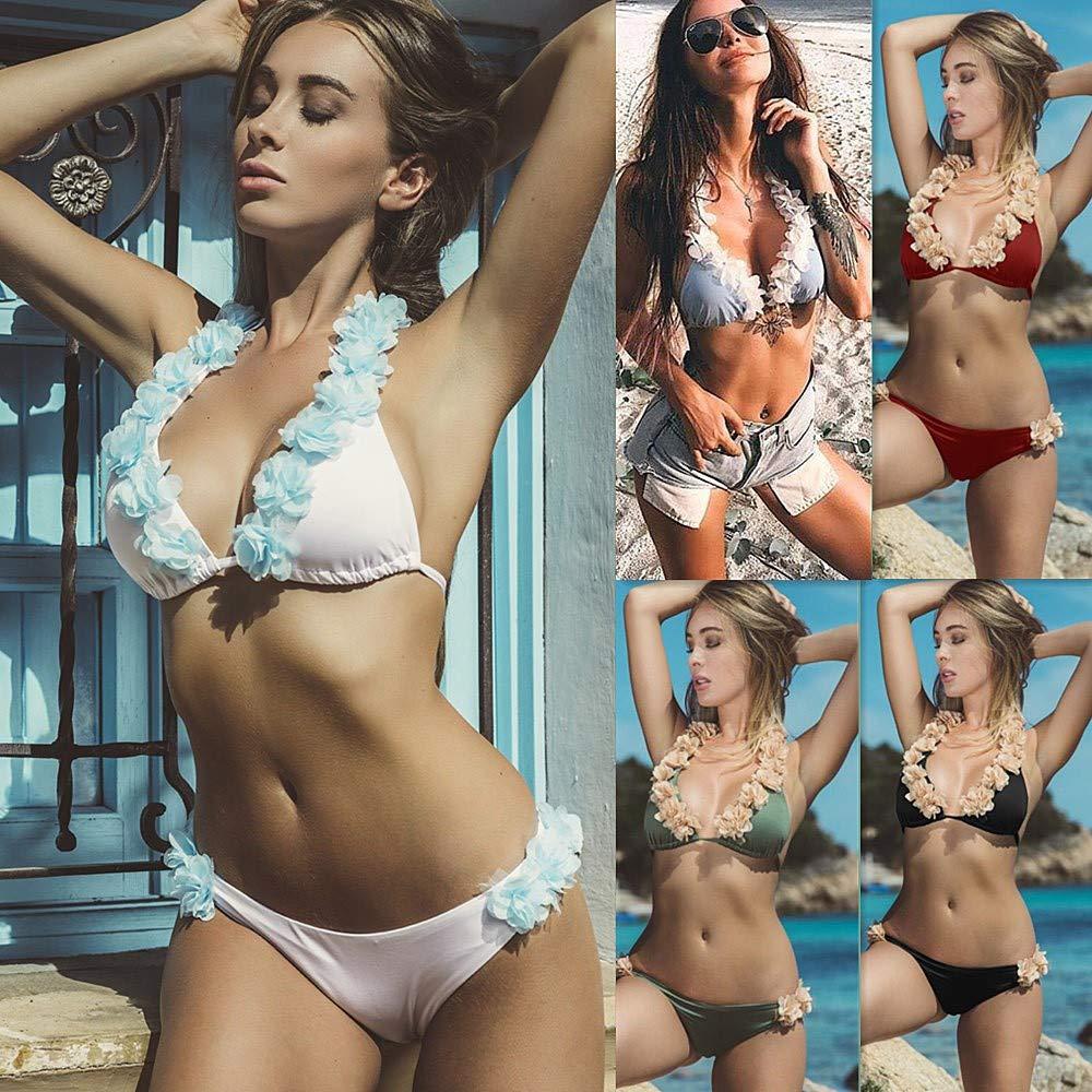 cd2ea9e14cceb Amazon.com: Quelife Womens Petal Bandage Deep V Neck Bikini Push Up Halter  Thong Swimsuit Beachwear Set(White,XL): Clothing