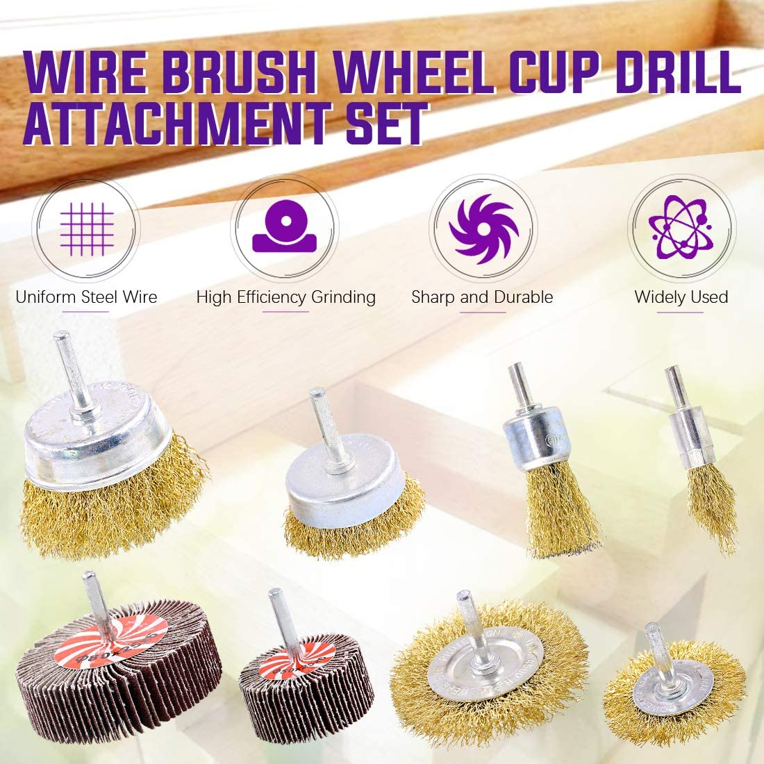 Reduced Wire Breakage Coated Wire Drill Brush Set Perfect for Removal of Rust//Corrosion//Paint Swpeet 8Pcs Brass Coated Wire Brush Wheel /& Cup Brush Set and Abrasive Flap Wheel With 1//4-Inch Shank