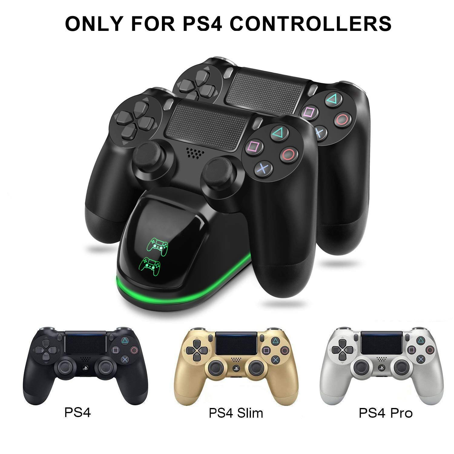 TGJOR PS4 Controller Charger - DualShock 4 PS4 Wireless Controller USB High-Speed Charging Dock, Playstation 4 Charging Station for Sony Playstation4 ...
