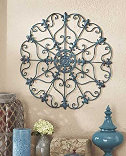 Teal Metal Antiqued Finish Iron Wall Medallions Display Hangs Indoors Or  Porch Or Patio Wall Art