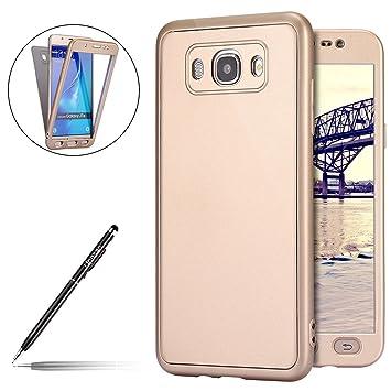 Funda Compatible con Samsung Galaxy J7 2016,Galaxy J7 2016 Carcasa Funda Caso 360 Grados Full Body Completa Cover + Vidrio templado,Ultra Delgado ...