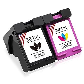 Toner Kingdom 2 Pack Compatibles HP 301XL 301 XL Cartucho de tinta para HP CH561EE CH562EE CH563EE CH564EE Deskjet 1000 1010 1050 1055 1510 1512 1514 ...