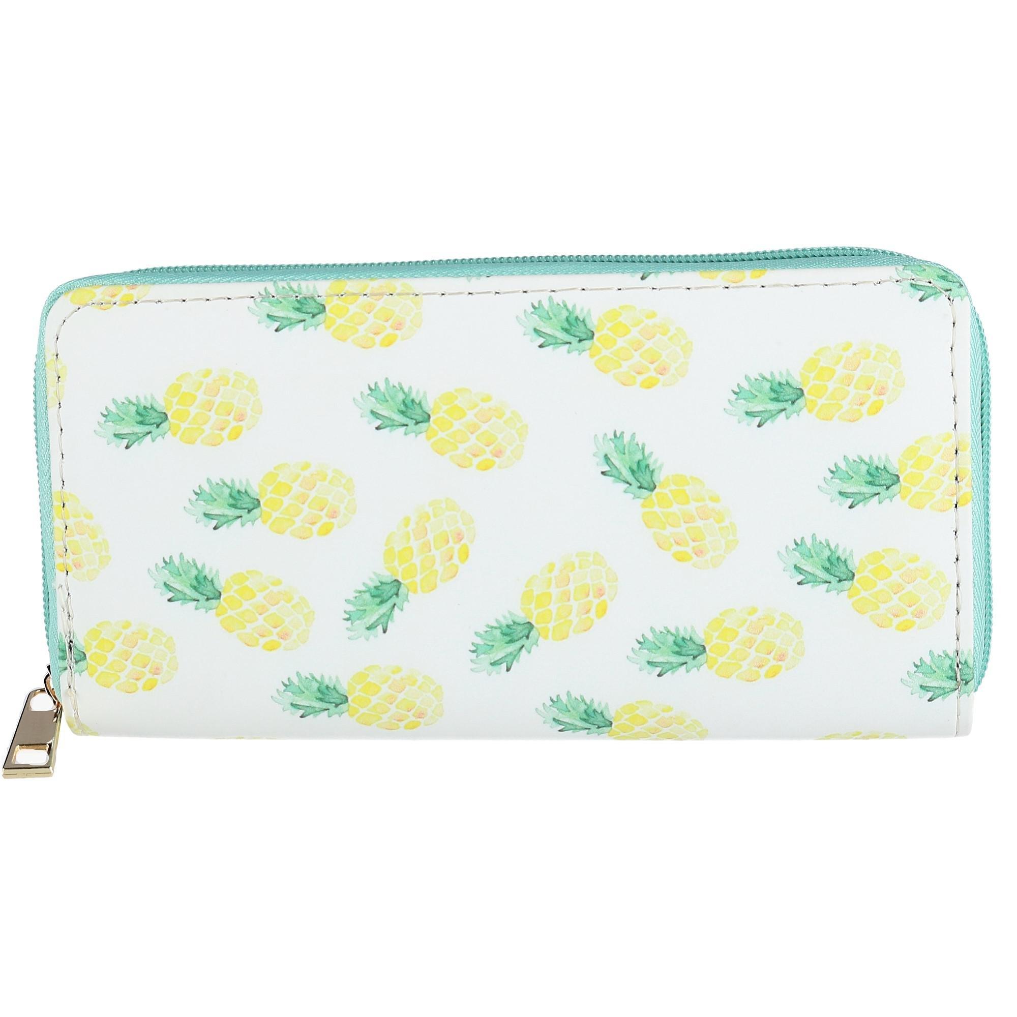 CTM Women's Zip-Around Pineapple Print Wallet, White