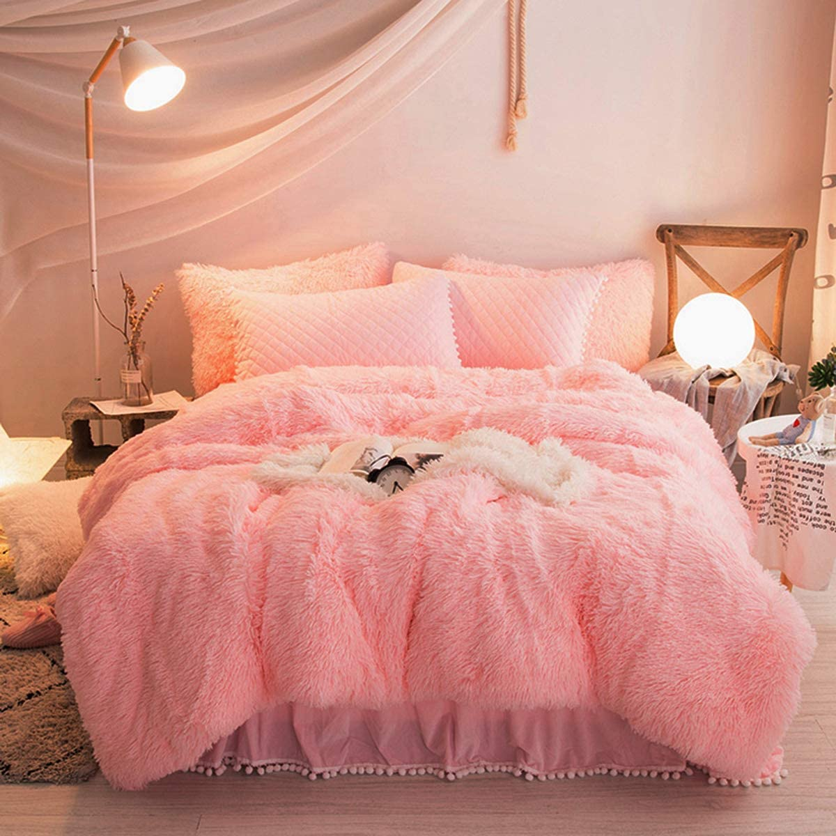Vasofe Warm Shaggy Sherpa Blankets Fluffy Soft Fuzzy Faux Fur Throw Blanket for Xmas Couch Sofa Photo Home Decor Pink Bed Throw Size