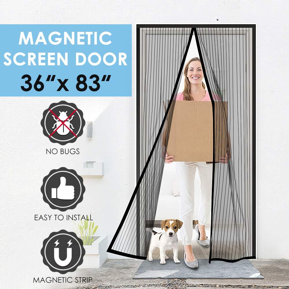 Magnetic Screen Door, COZYDREAM Removable Magic Mesh Door with Full Frame Velcro Hook&Loop Pet and Kid Friendly, Fits Door Size up to 34''-82'' Max- Black