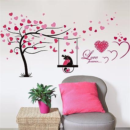 Gouzi Cute Dibujos Animados Amor Amantes Del Arbol Del Amor - Dibujos-de-pared