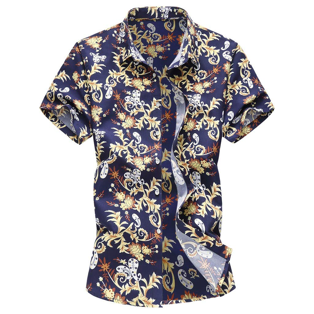 Casual Men Printed Shirts Short Sleeve Hawaiian Buttons T-Shirt Tops Tees for Boys Blouse for Summer Holiday by Gibobby