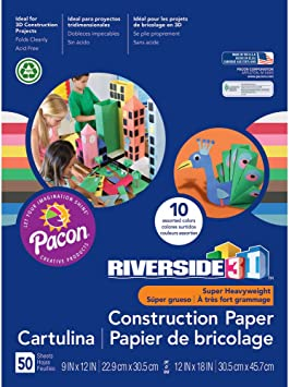 50 Sheets Light Blue 9 x 12 Riverside 3D Construction Paper