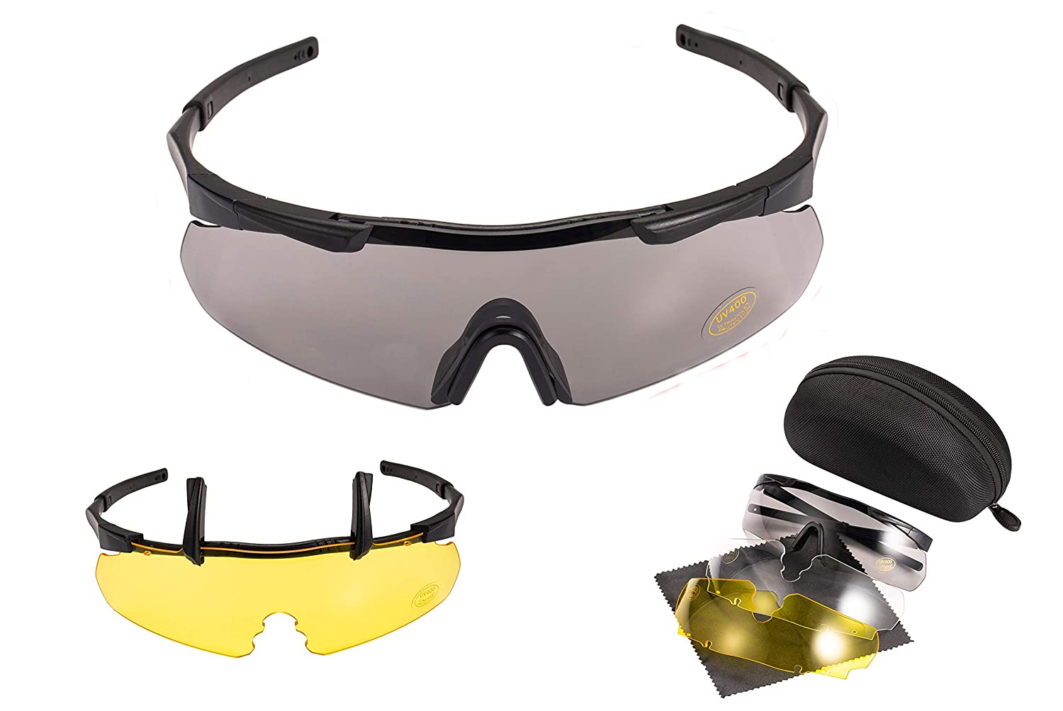 Ocean Loong Tactical Airsoft Shooting Safety Goggles with Set of Three High Strength Polycarbonate UV400 & An-ti fog Interchangeable Lenses,Meet ANSI/ISEA Z87.1 & CE EN166 Standard
