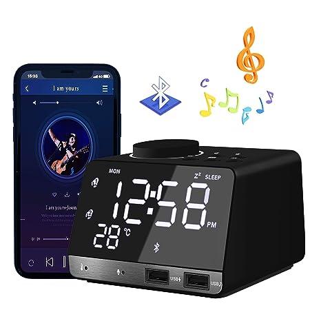 HQQNUO Despertador Radio Altavoces Bluetooth FM Reloj Alarma Digital con Alarma Doble 2 Puertos USB Tarjeta