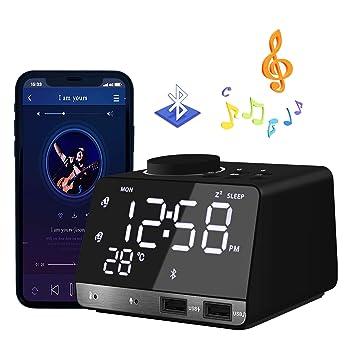 HQQNUO Despertador Radio Altavoces Bluetooth FM Reloj Alarma Digital con Alarma Doble 2 Puertos USB Tarjeta TF Función Snooze Termómetro: Amazon.es: Hogar