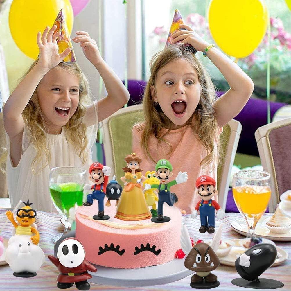 suministros para fiestas decoraci/ón para tartas Super Mario Mini juego de figuras suministros para decoraci/ón de tartas figuras para magdalenas 18 piezas decoraci/ón para tartas