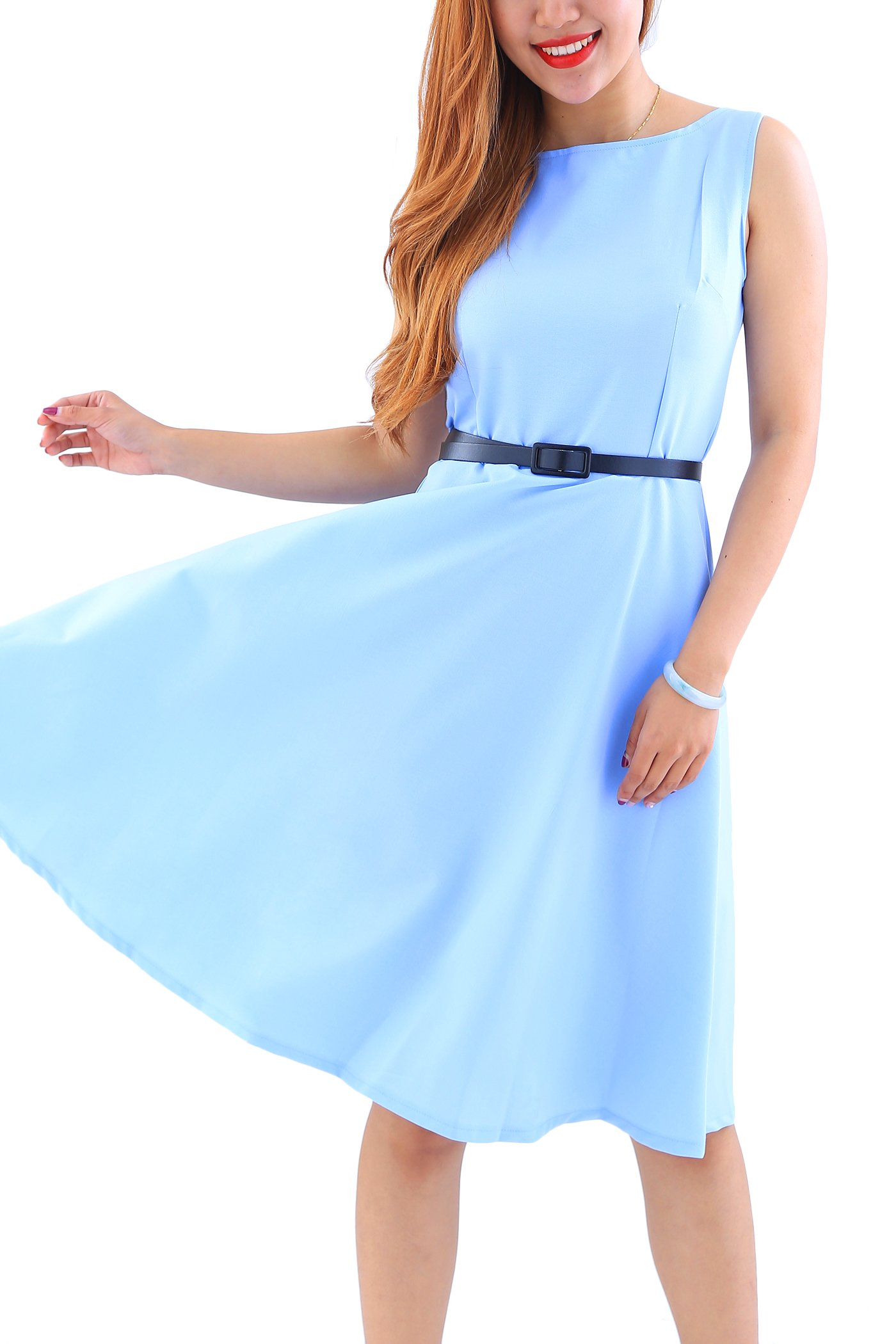 YMING Casual Sleeveless 1950s Solid Color Dress Party Prom Midi Dress Blue XL