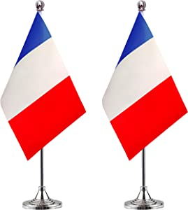 WEITBF France Desk Flag Small Mini French Office Table Flag with Stand Base,French Themed Party Decorations Celebration Event,2 Pack