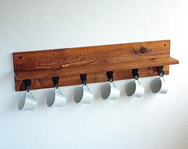 Nice Coffee Mug Rack Part - 13: Rustic Wall-Mounted Wood Coffee Mug Rack With Shelf