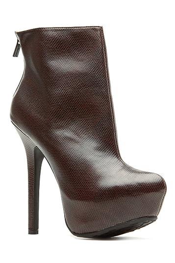 0a0ec7da88bc dollhouse Brown Faux Leather Platform Ankle Booties