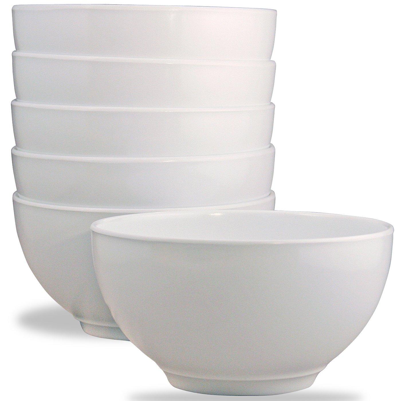 Calypso Basics by Reston Lloyd Melamine Bowl, Set of 6, White