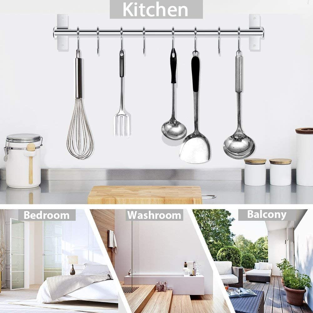 Amazon Com Kitchen Utensil Rack Wall Mounted Hanger Space Saver Stainless Steel Rack Rail Storage Organizer Kitchen Tools For Hanging Knives Spoon Pot And Pan With 8 Removable S Hooks 20 Inches 50cm 8 Hooks Home