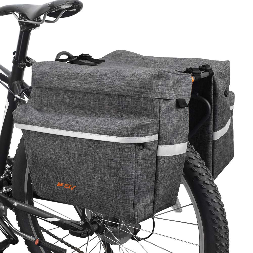 BV Bike Bag Bicycle Panniers with Adjustable Hooks, Carrying Handle, 3M Reflective Trim and Large Pockets, Gray