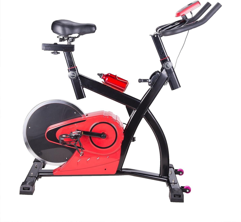 Pinty Bicicleta Estática Ejercicio Estacionaria Vertical con Pantalla LCD Equipo de Ejercicios para Gimnasio de Entrenamiento- Estilo de Rueda Trasera: Amazon.es: Deportes y aire libre