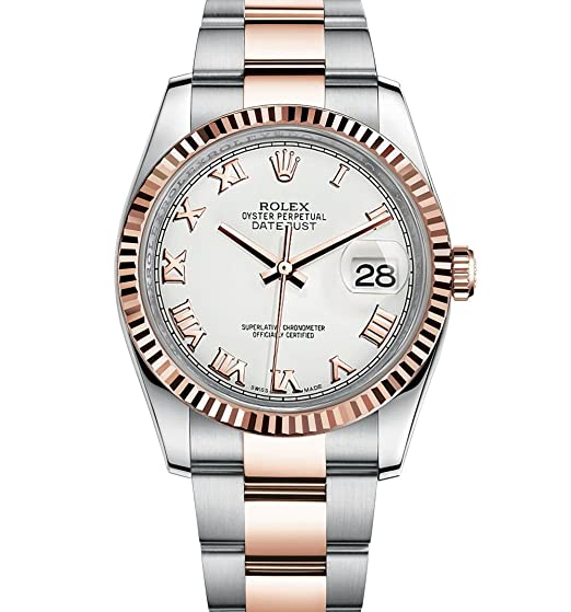 Rolex Datejust 36 acero oro rosa reloj esfera blanca Oyster 116231: Rolex: Amazon.es: Relojes