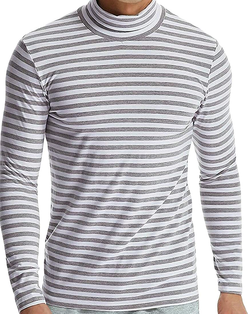 Domple Men Turtleneck Casual Striped Long Sleeve T-Shirts Tops