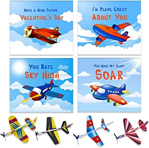 WaaHome 32pcs Valentines Day Cards for Kids with Foam Airplanes Valentines Gift Card for Kids Classroom School Party Favor