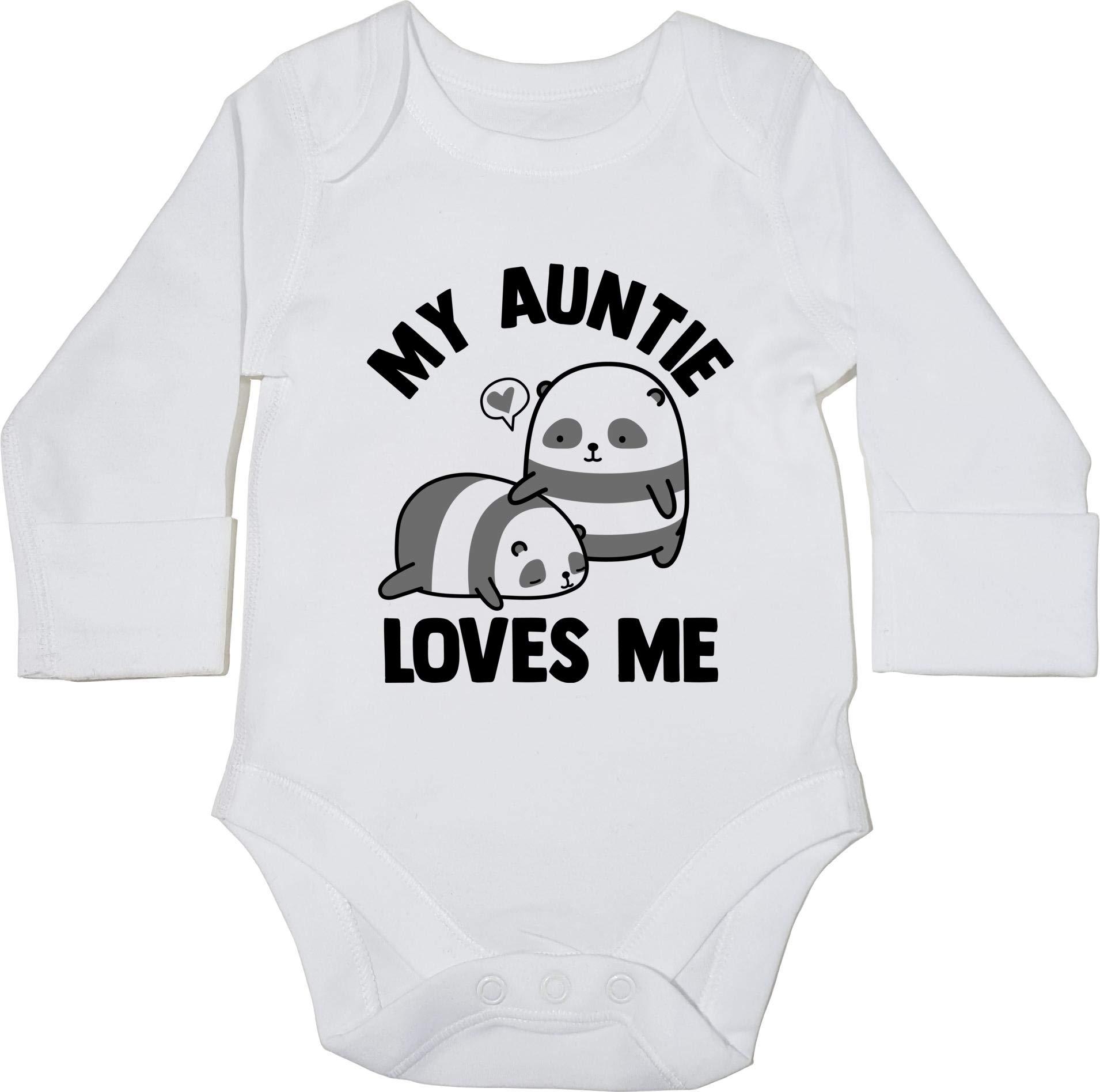 Hippowarehouse My Auntie Loves Me Panda Baby Vest Bodysuit Long Sleeve Boys Girls