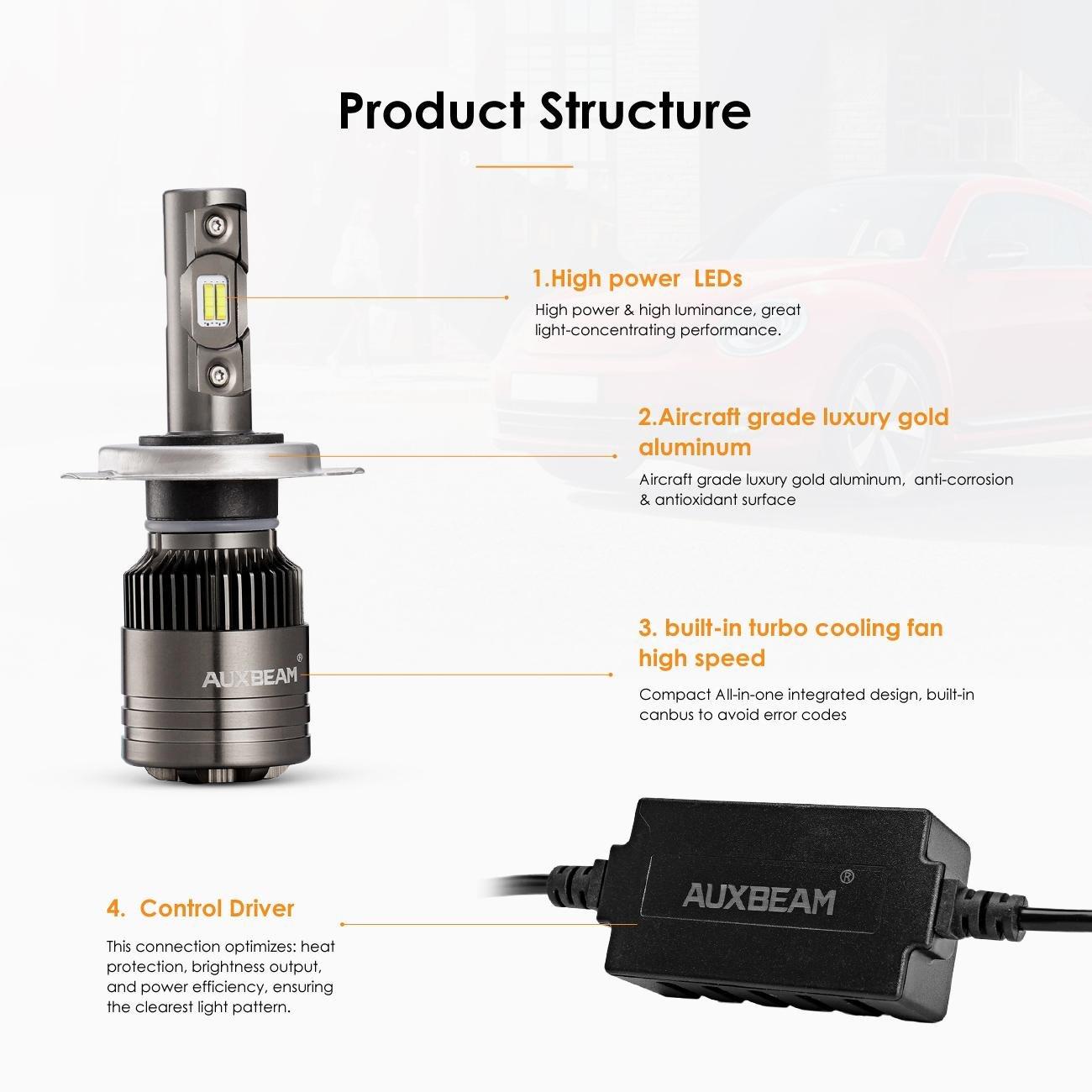 auxbeam H4 Hi/Lo LED Faro Bombillas H4 Lámpara 8000 Lumens 70 W 9 - 32 V 6500 K Blanco Super claro Auto Kit Faro para Halógena de Repuesto & HID lámpara ...