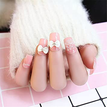 Amazon.com  24Pcs/Set Cream Nude Pink Pure Color 3D Fake
