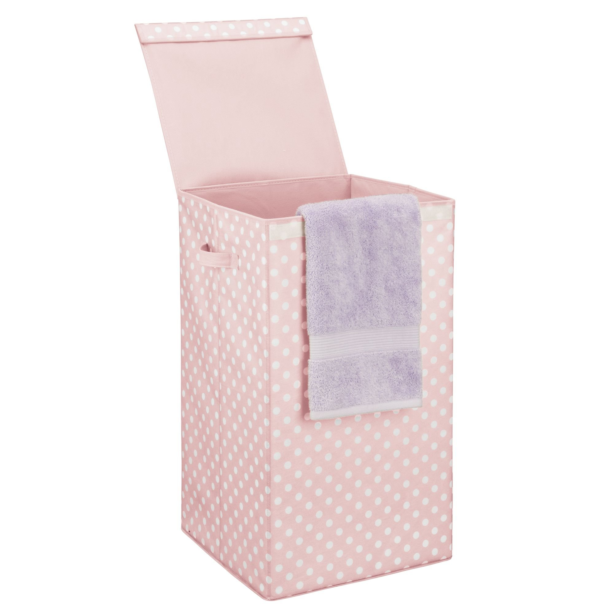 mDesign Large Laundry Hamper Basket with Hinged Lid and Attached Handles - Portable and Foldable for Compact Storage - Single Hamper Design, Fun Polka Dot Pattern - Pink with White Dots