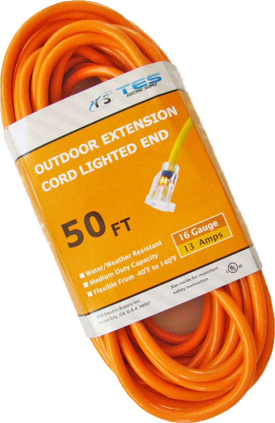 TES 16 Gauge 50 Ft. 16/3 SJTW Medium Duty Extension Cord with Lighted Plug