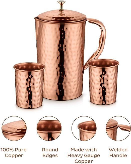 Pure Copper Handmade Hammered Jug Water Pitcher 1.5 L Storage Kitchen Ayurveda