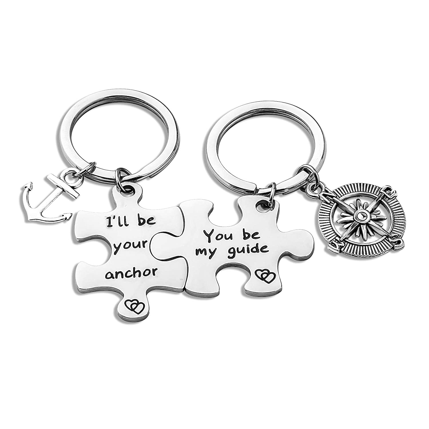 Zuo Bao Puzzle Keychain Valentines Day Anchor Compass Charm Keychains Set I'll Be Your Anchor You Be My Guide B07G9CP7HR_US