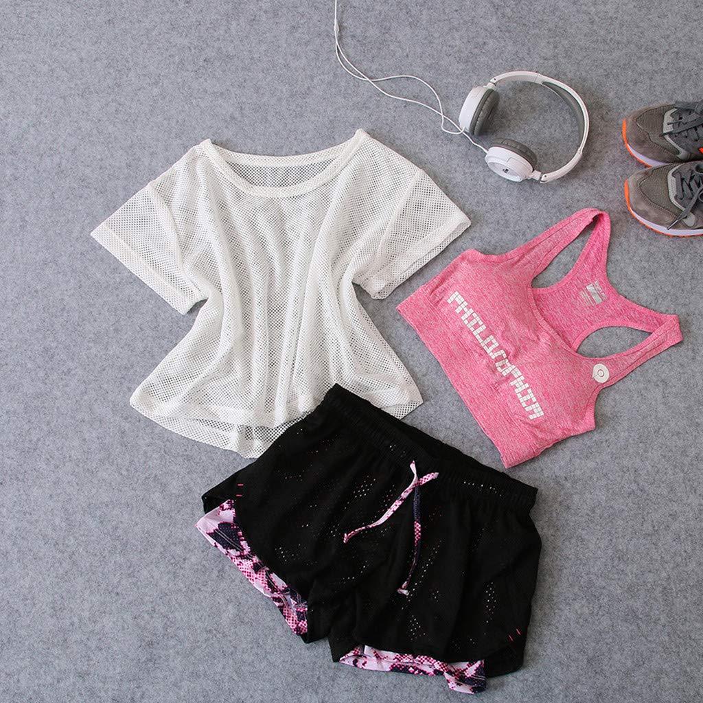 3pcs Womens Yoga Suit Ladies Summer Fitness Running Clothes Sports Bra Mesh t-Shirt Tops Casual Shorts Pants