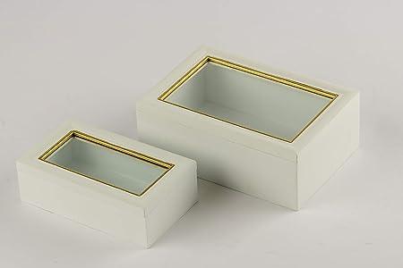 DECORPRO - Caja de Madera con Tapa de Cristal, Color Blanco y Dorado, Klein 17 x 10 x 5,5 cm: Amazon.es: Hogar