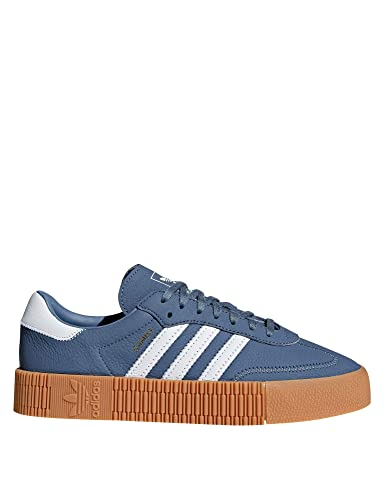 adidas Originals Women's Sambarose Leather Sneakers Blue in Size US 6.5