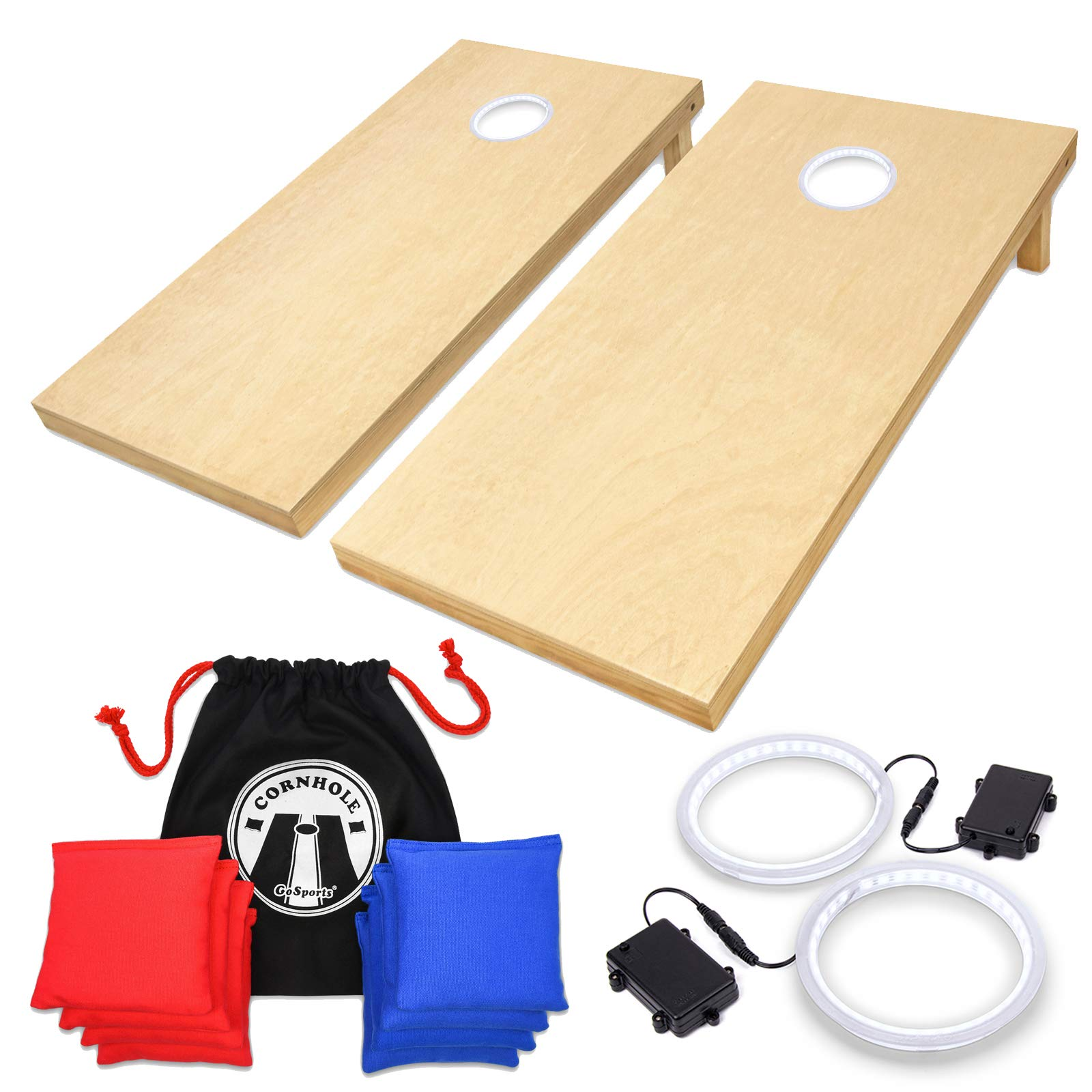 GoSports 4' x 2' Wooden Cornhole Set with White LED Rings