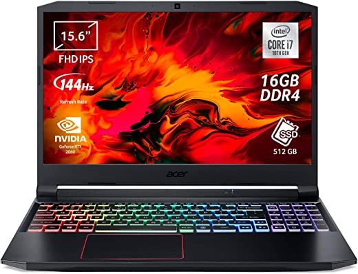 """Acer Nitro 5 AN515-55-7153 Notebook Gaming con Processore Intel Core i7-10750H, Ram 16 GB, 512 GB PCIe NVMe SSD, Display 15.6"""" FHD IPS 144 Hz LED LCD, NVIDIA GeForce RTX 2060 6 GB, Windows 10 Home"""