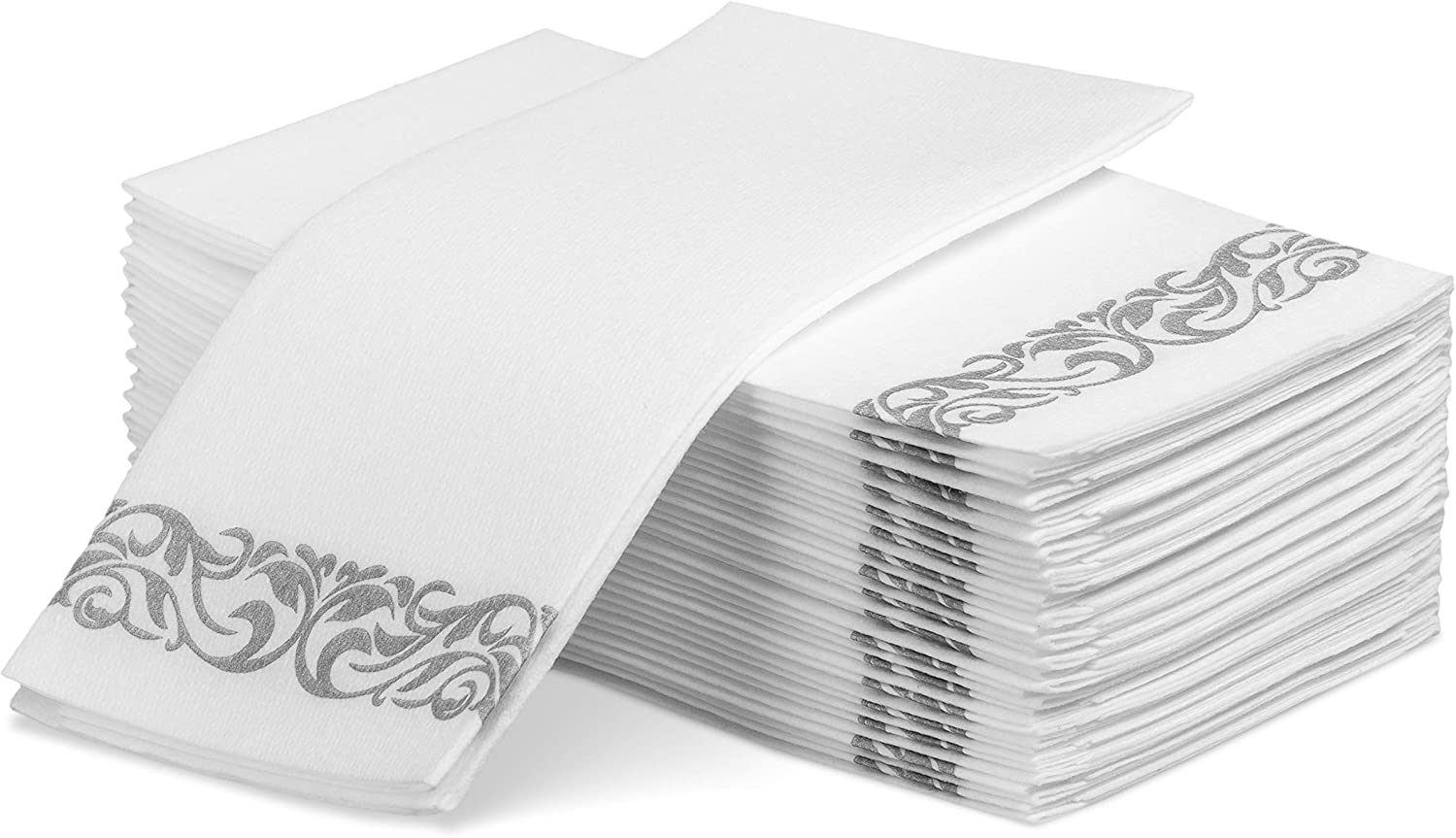 Laura Stein Linen-Feel Disposable Guest Towels (White with Silver Design, 50 Count) | Quality, Elegant, Soft, Absorbent Hand Napkins for Wedding Receptions, Restaurants, Bathrooms, Kitchens or Events