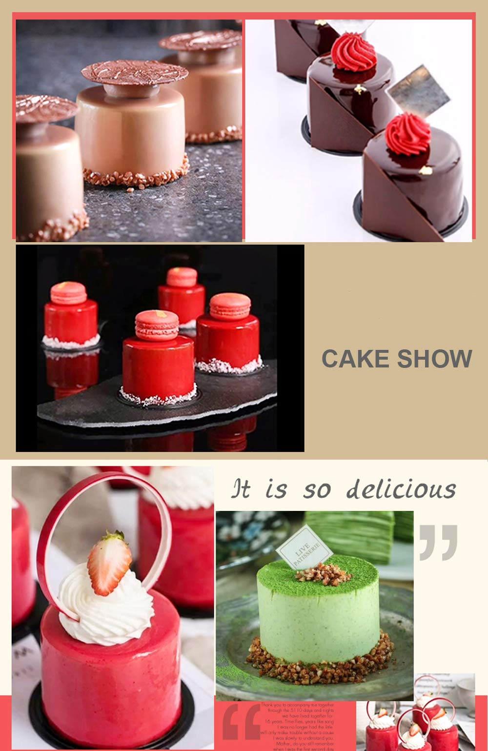 Silicone Mousse Cake Molds for Baking Brownie Chocolate Truffle Pudding Christmas Desserts,Nonstick, Easy Release, Food Grade Silicone,BPA Free,Set of 1 (3D Tall Cylinder) by JOHO (Image #7)