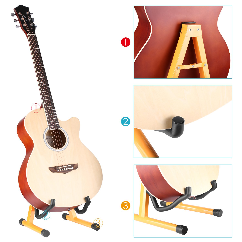 Neewer Universal Soporte Plegable bastidor ajustable portátil de guitarra eléctrica titular con pies de goma antideslizante y relleno acústico, ...