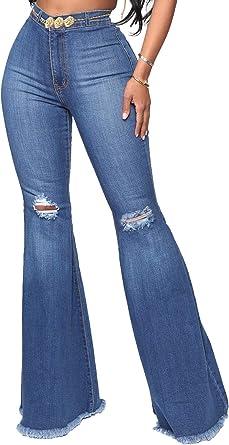 Amazon Com Yousexy Pantalones De Mezclilla Acampanados Y Entallados Para Mujer Con Rodillas Rasgadas Clothing