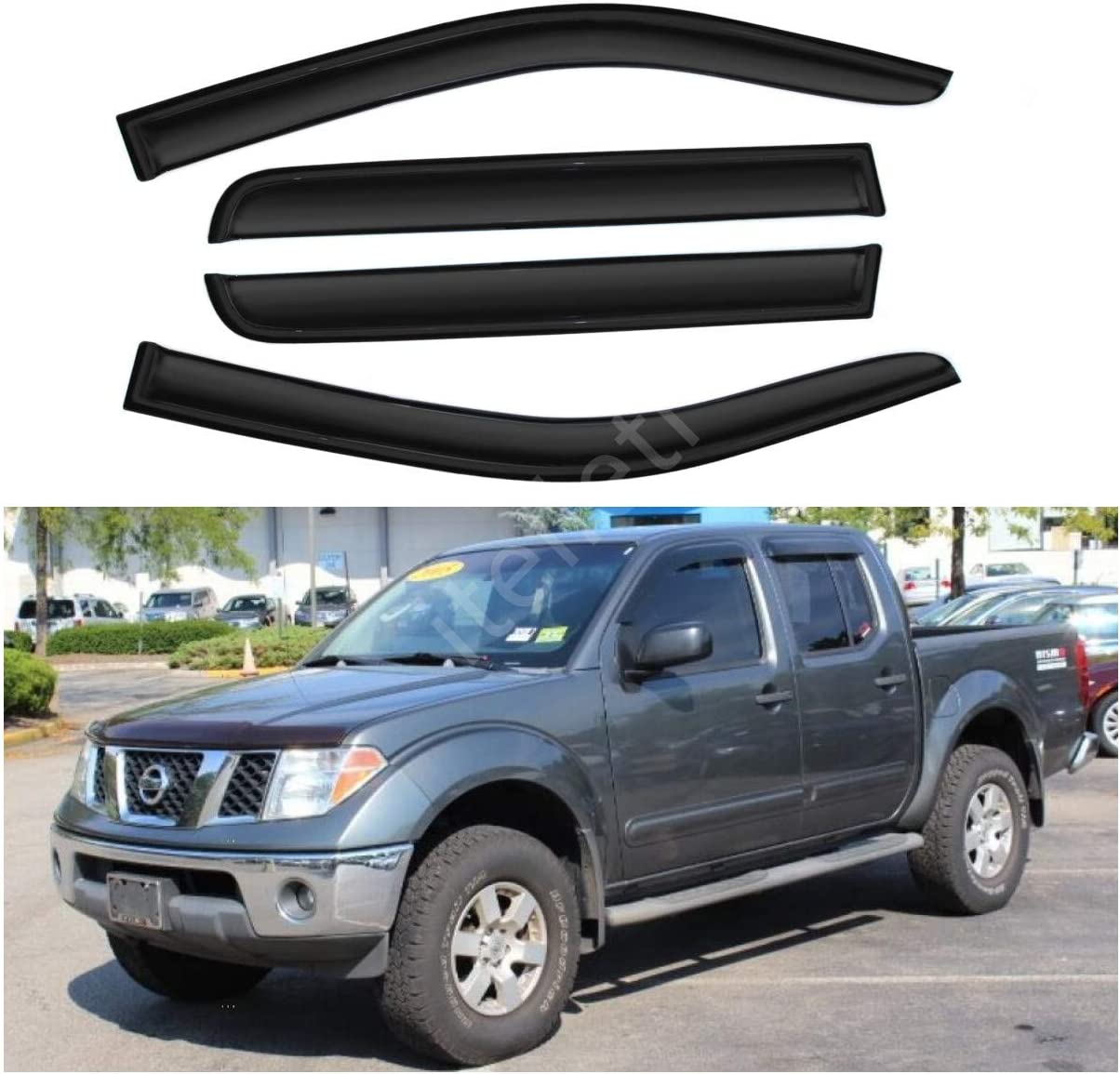 Window Visor Rain Guard Trim Fit For 2005-2018 Nissan Frontier Crew Cab Pickup