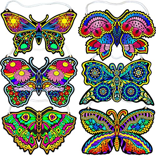 Fuzzy Velvet Hanging Butterflies 6-Pack (Beautiful Coloring Designs, Each Arrives Uncolored)