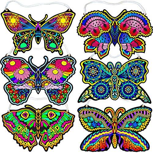 Butterfly Poster Velvet (Fuzzy Velvet Hanging Butterflies 6-Pack (Beautiful Coloring Designs))
