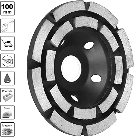 for Granite Marble Masonry 4-1//2-Inch Double-Row Diamond Cup Grinding Wheel Stone 12-Segment Heavy Duty Turbo Row Concrete Grinding Wheel Disc for Angle Grinder Concrete Set of 2