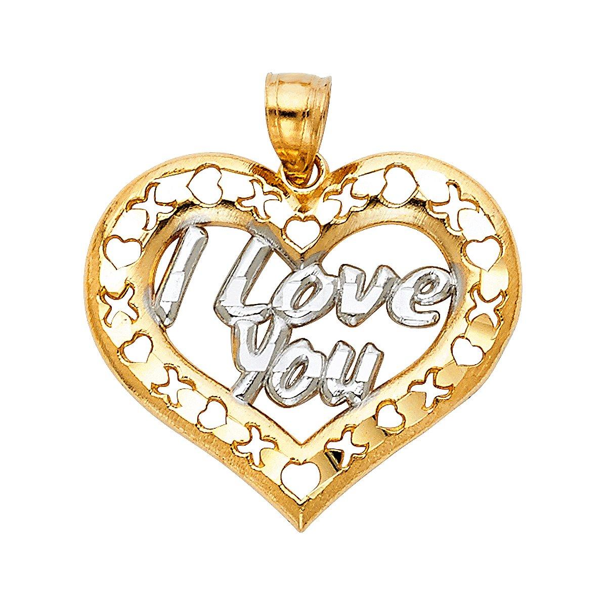 TGDJ 14K Yellow Gold I Love You Heart Pendant - Height 23 MM Width 26 MM
