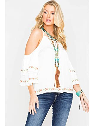 537d1fc5454862 Miss Me MMT0058L Off White Open Shoulder Floral Embroidered Top (Small)